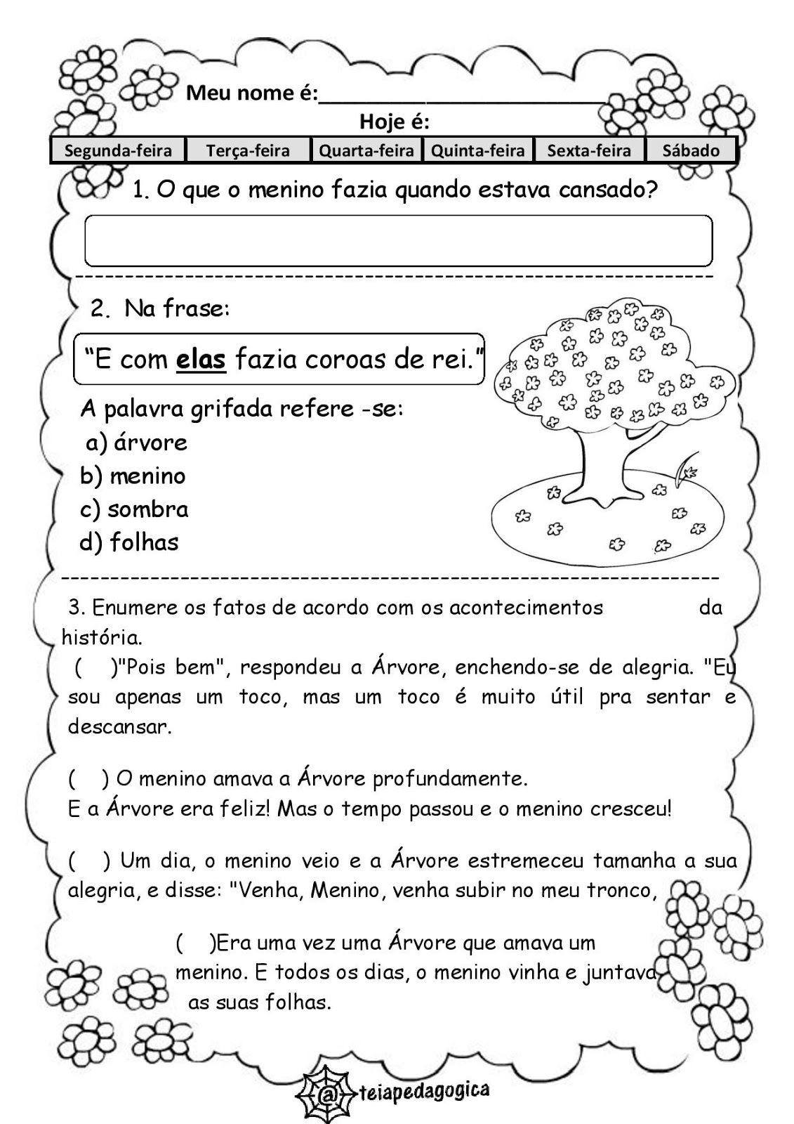 Teia Pedagogica Dia Da Arvore Atividades Com O Texto A Arvore