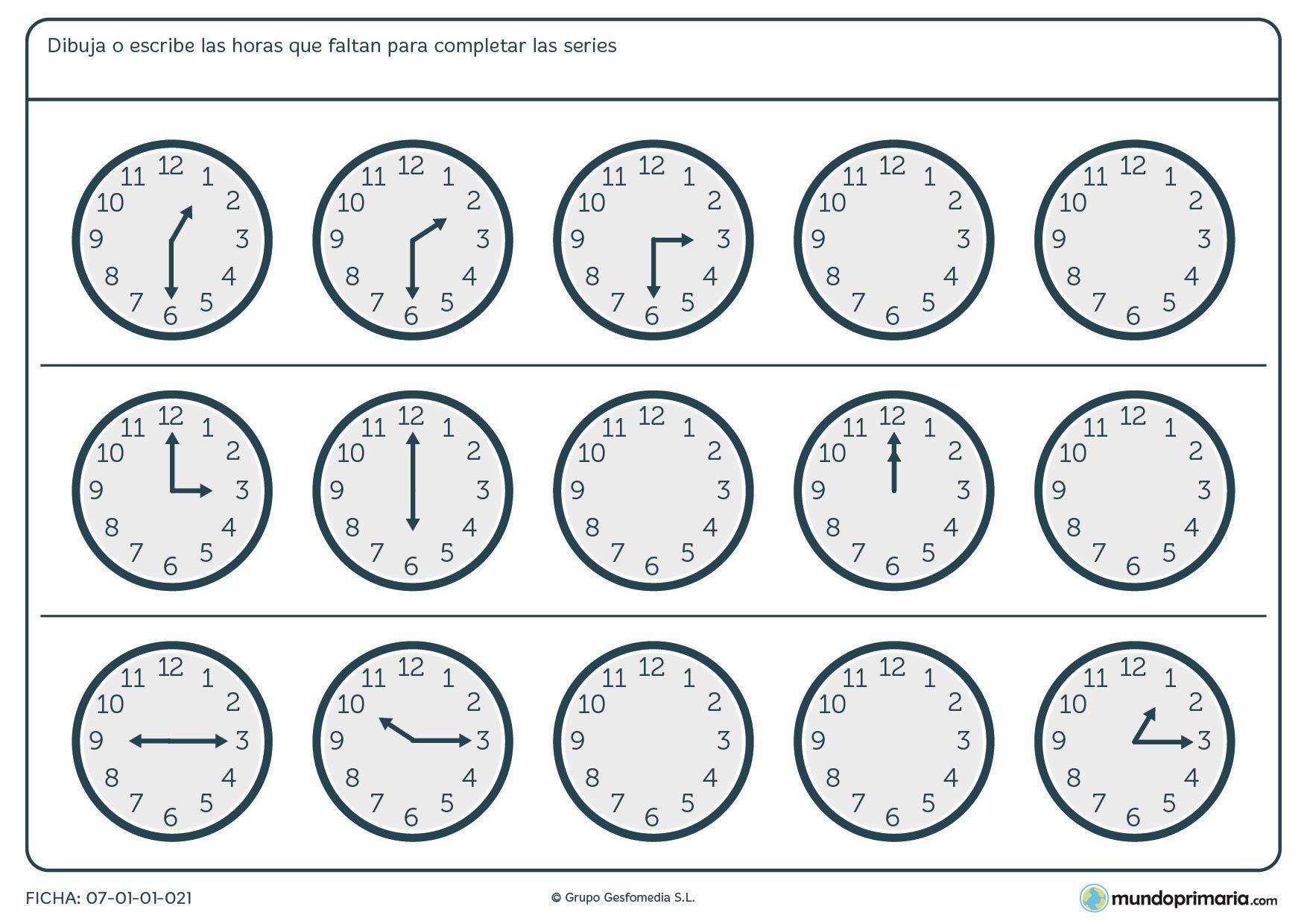 Ficha de series de relojes anal gicos para ni os de quinto - Dibujos de relojes para imprimir ...
