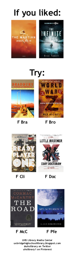 On the bookmark: books like THE MARTIAN and THE INFINITE SEA.
