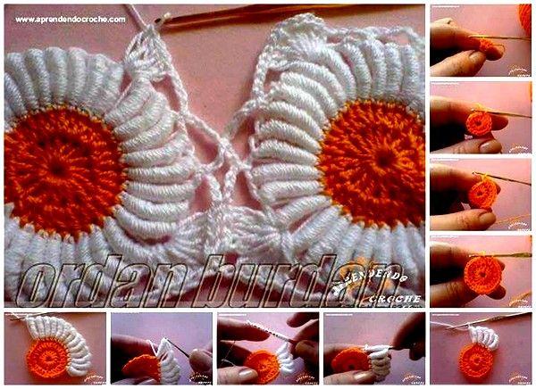 crochet flower pattern (34) | Projets à essayer | Pinterest | Galón ...