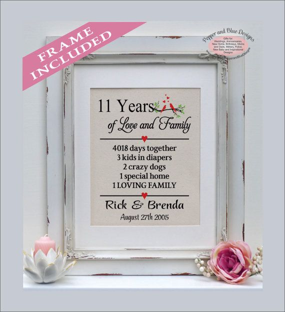 11th Anniversary Gifts 11 Years Married 11 By Pepperandbluedesigns Wedding Anniversary Gifts Cotton Anniversary Gifts 17th Wedding Anniversary