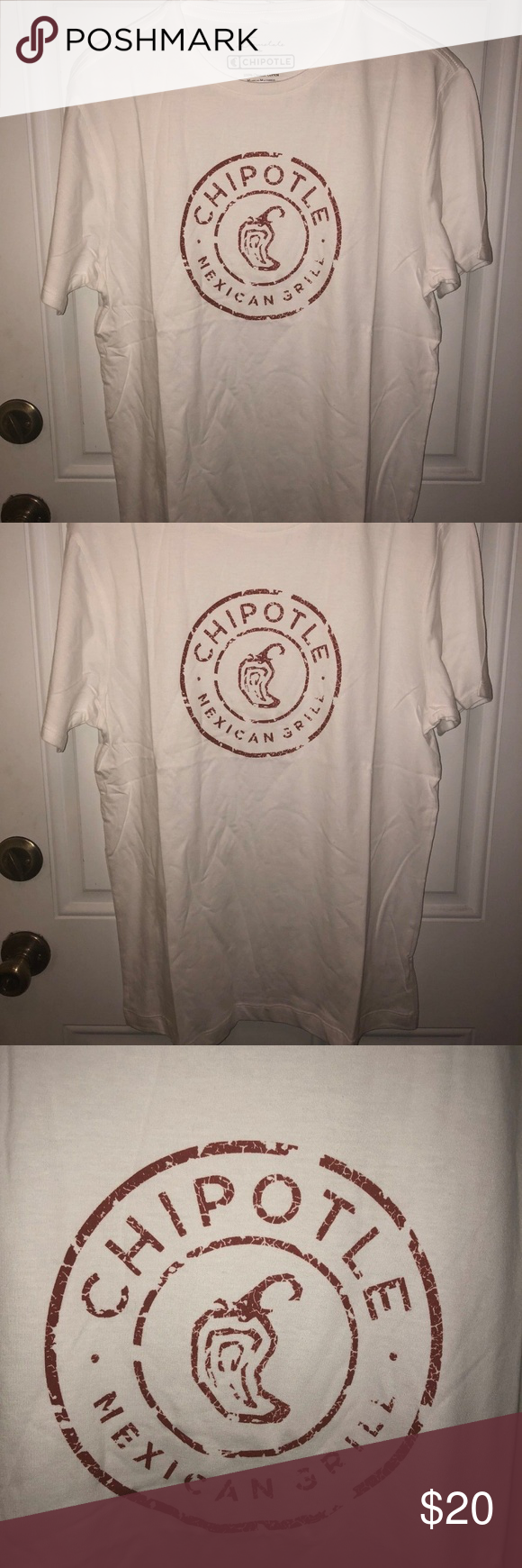 Chipotle Mexican Grill White Tee shirt Medium New White