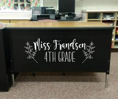 Teacher Name teacher desk decal classroom decor vinyl wall | Etsy