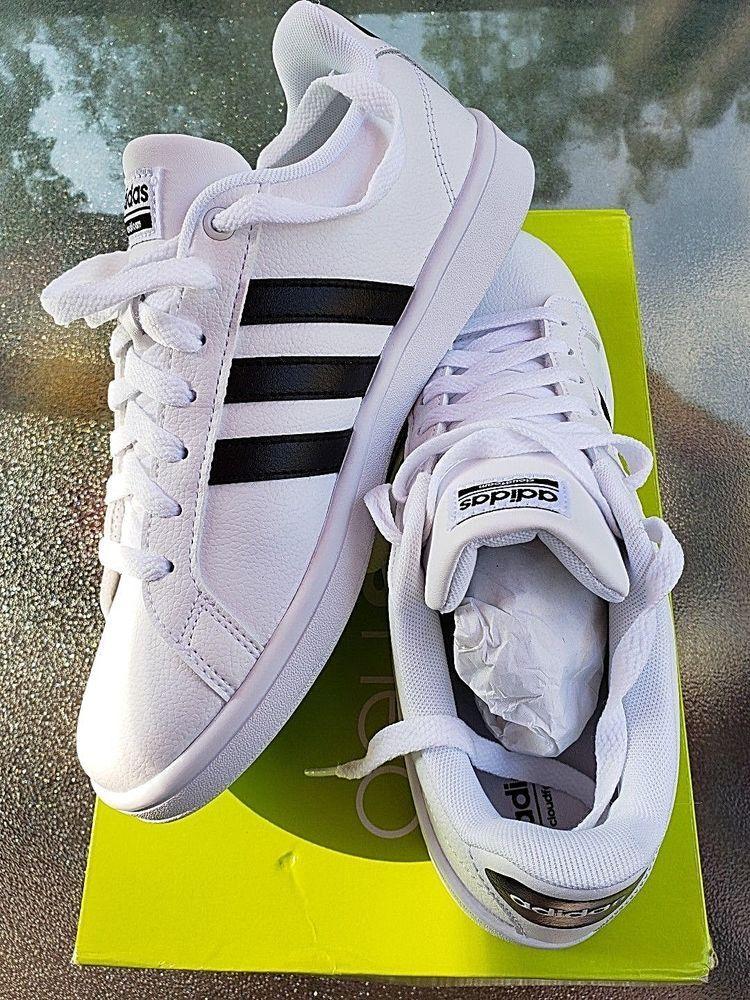 Adidas Women s Size 8 White Leather Baseline Shoes Running White Black  Stripe  adidas  AthleticShoes 2bfda17e67