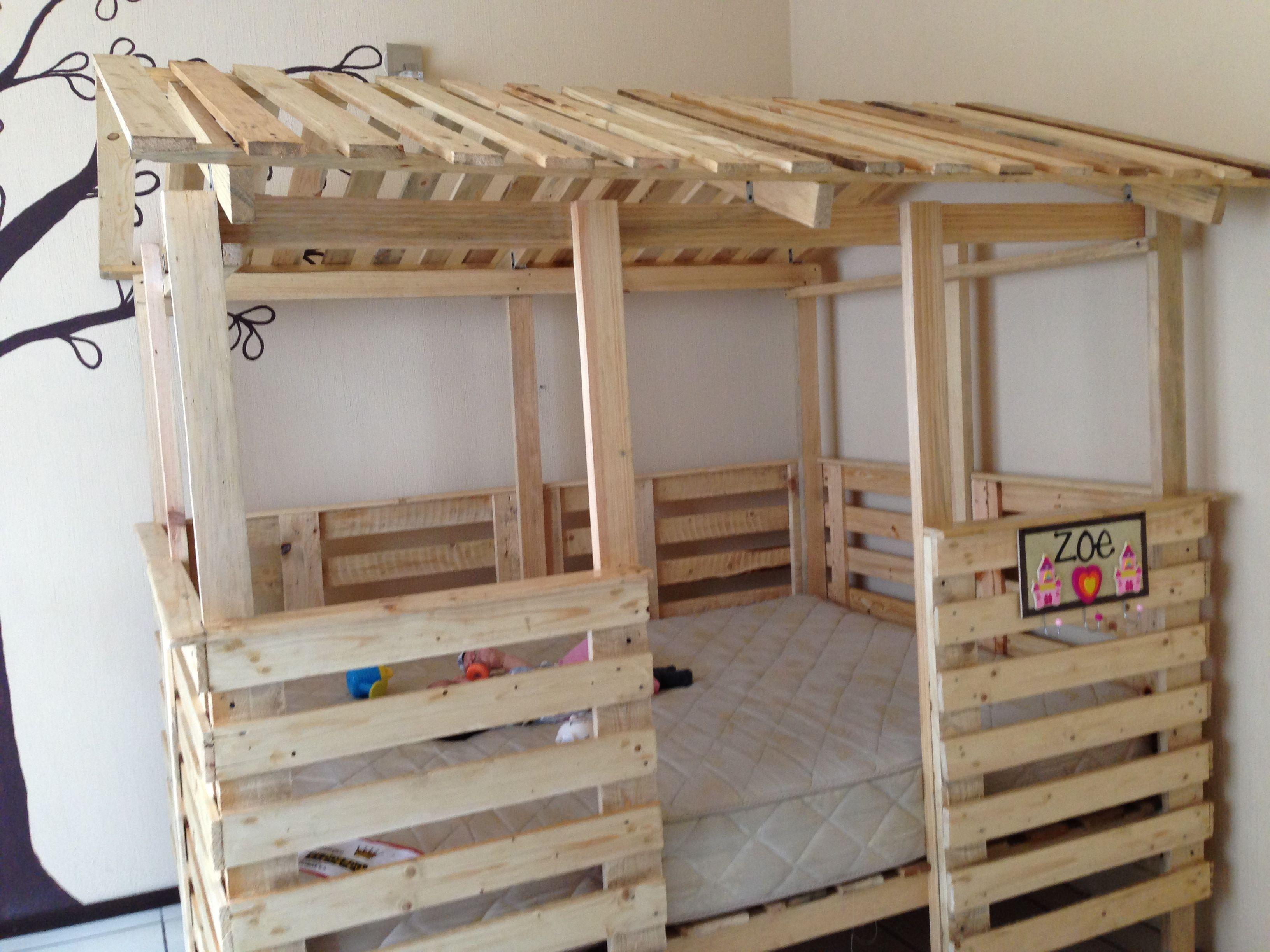 Casa Cama Hecha De Pallets Tama 241 O Full House Bed Made Out