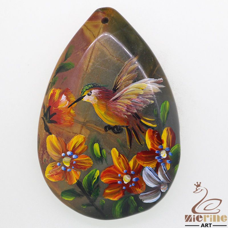 Art Deco Hand Painted Made Necklace bird Natural Gemstone pendant ZL80898 #ZL #Pendant