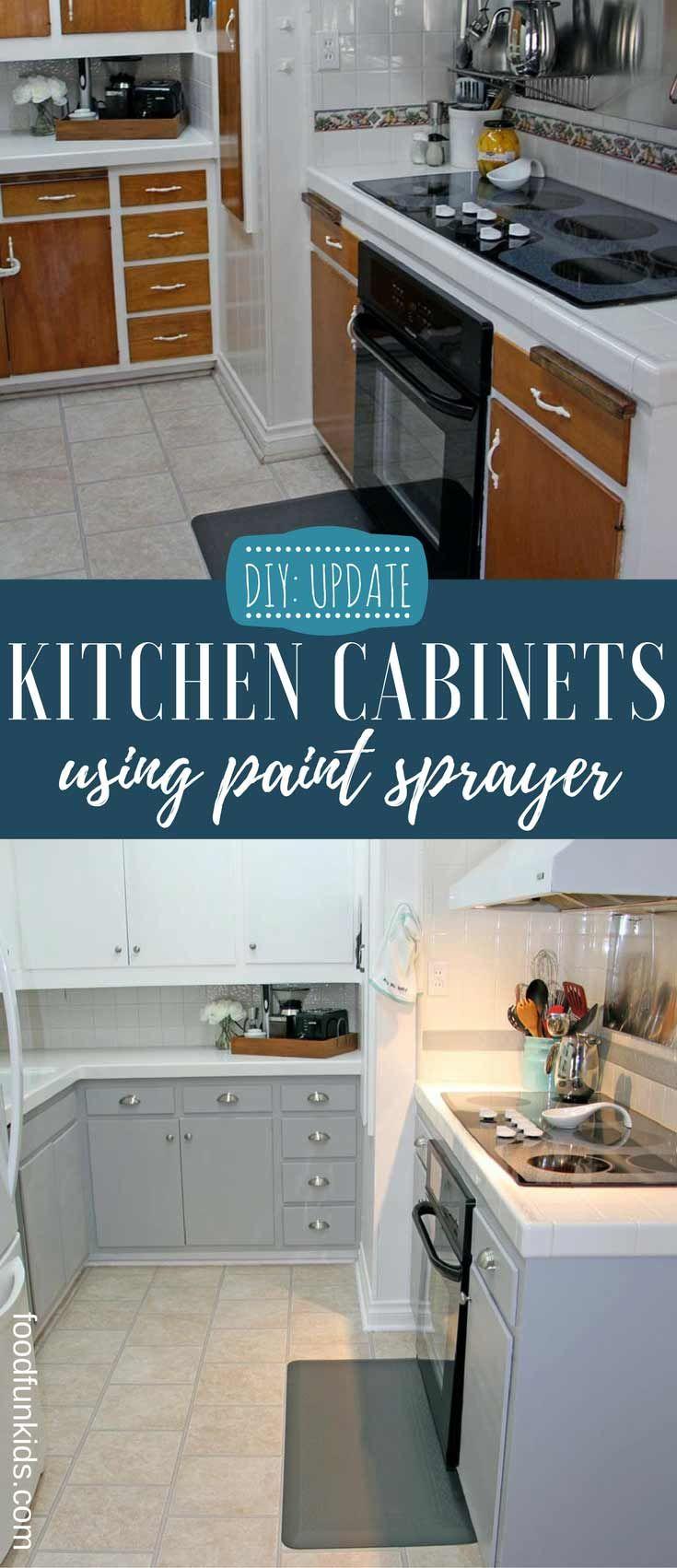 DIY: Updating Kitchen Cabinets with Paint Sprayer | Updating kitchen ...