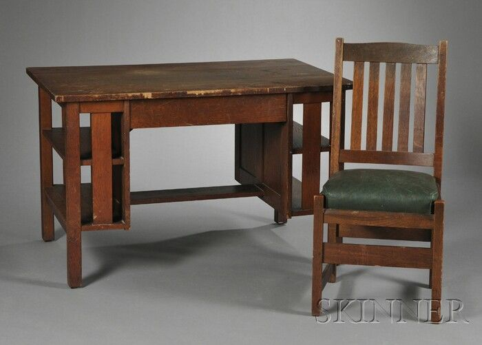 L J G Stickley Arts Crafts Oak Desk And Chair Rectangular Top Desk W Most Comfortable Office Chair Comfy Living Room Furniture Arts And Crafts Furniture