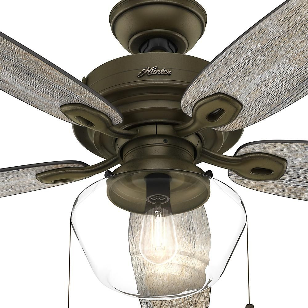 Hunter Crown Canyon 52 In Led Indoor Outdoor Noble Bronze Ceiling Fan 53352 The Home Depot Bronze Ceiling Fan Ceiling Fan Ceiling Fan With Remote
