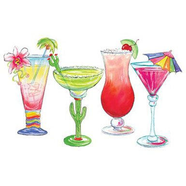 Summer Cocktails Paper Illustrations