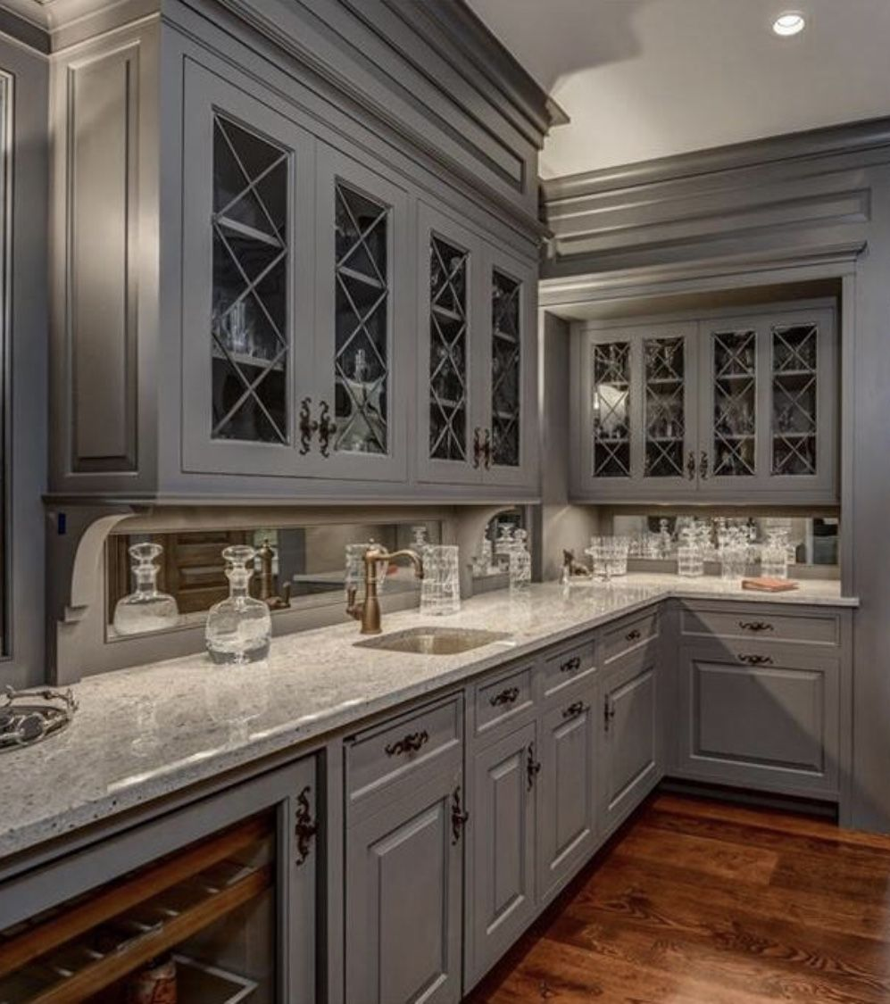 Gray Cabinets Bar Distressed Cabinets Country Kitchen Grey Cabinets
