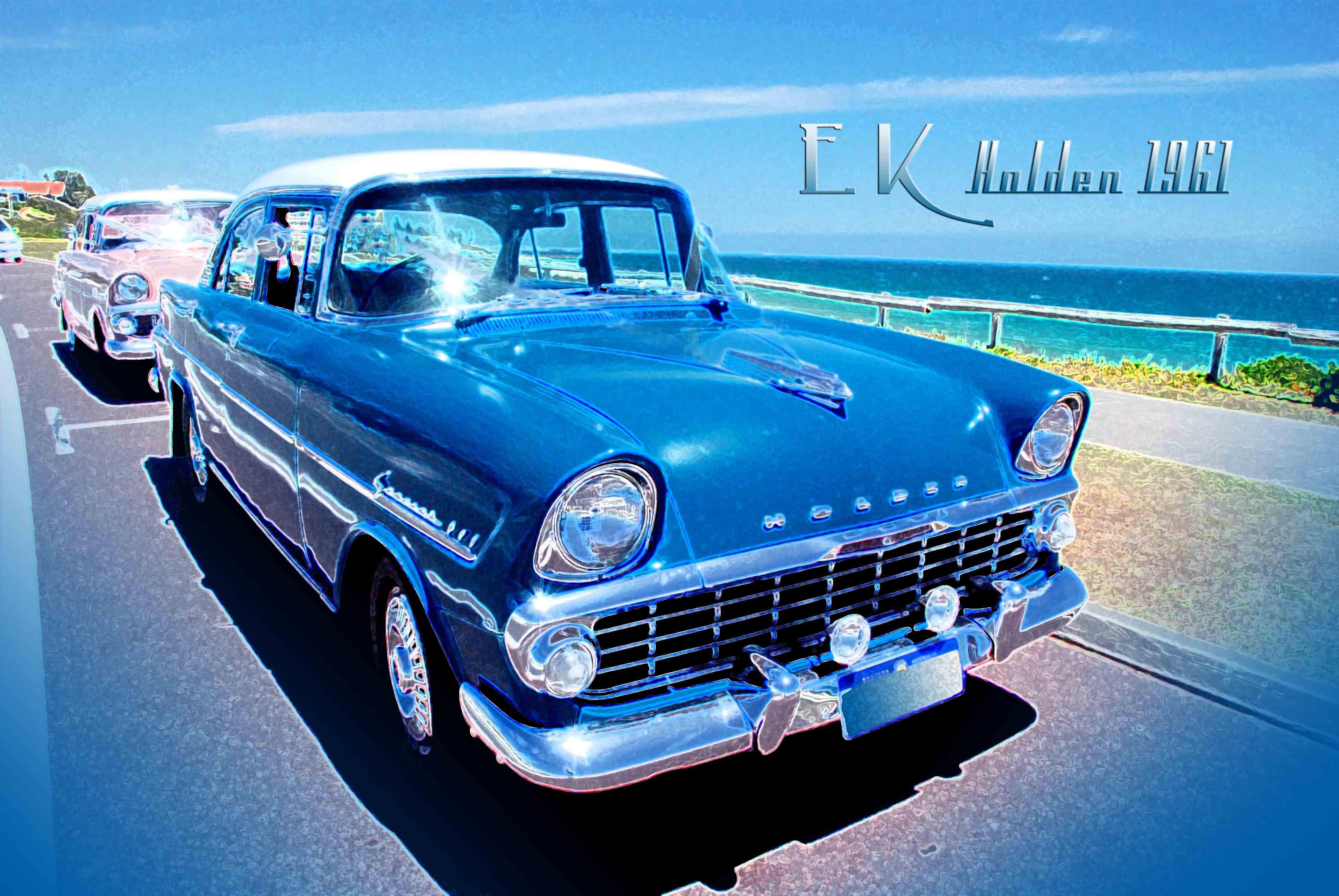 Vintage car Old Holden 1961 EK vintage retro car at the beach ...