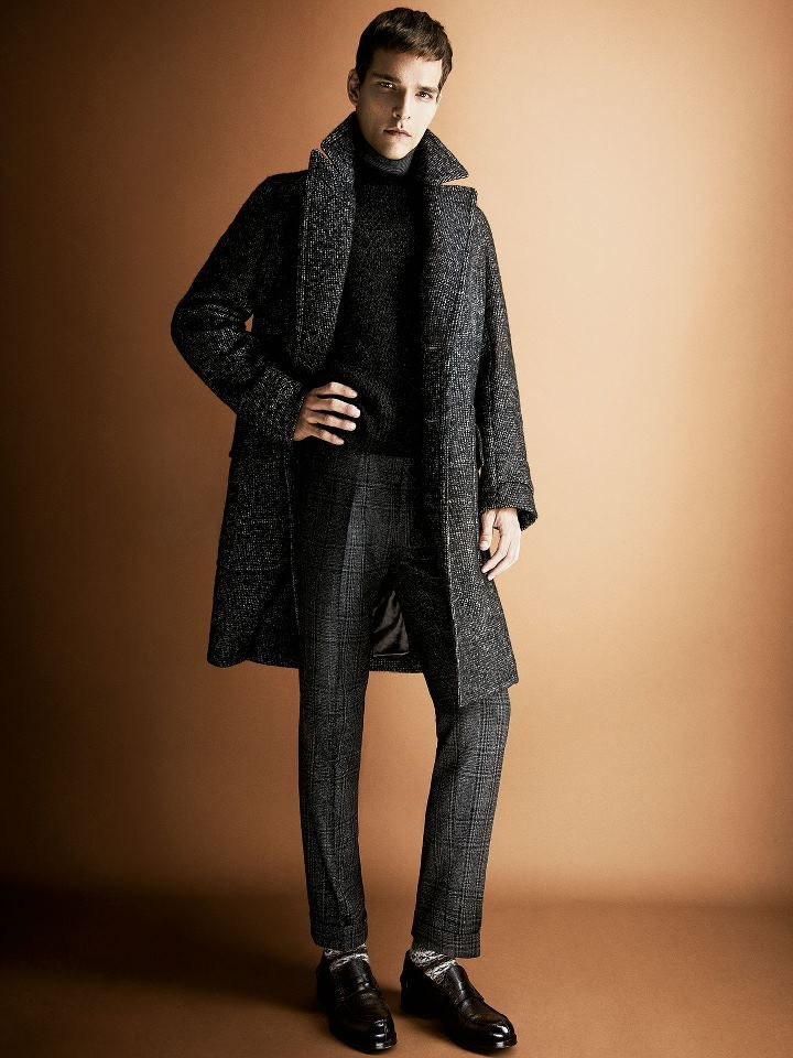 Tweed Wool & Cashmere Topcoat, Black Silk, Angora, Nylon and Cotton Black Sweater, and Tweed Wool Trousers, by TOM FORD. Men's Fall Winter Fashion.