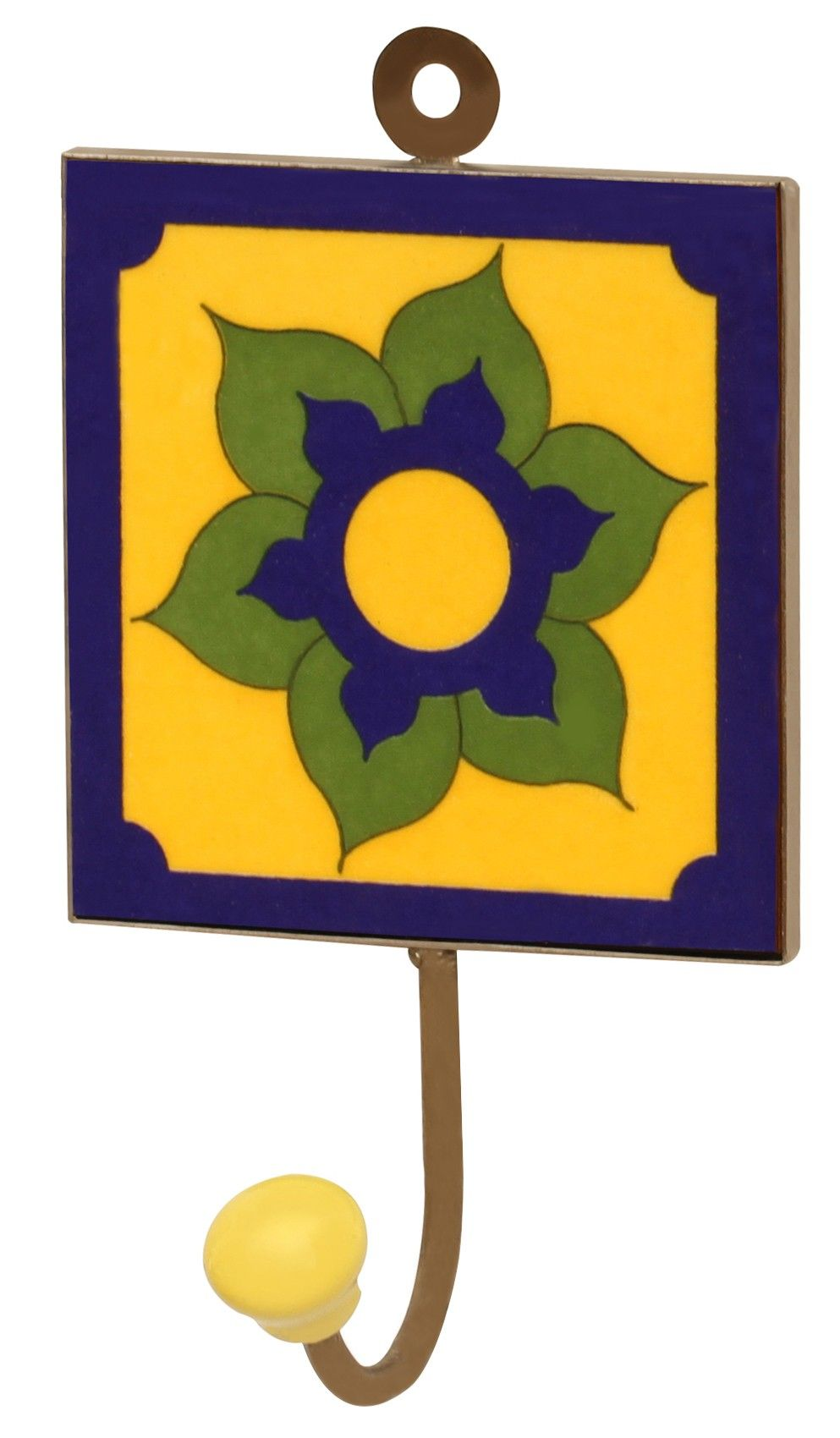 "Yellow-Blue Effects - #Handmade 6.2"" #Ceramic Wall-#Hook with Floral ..."