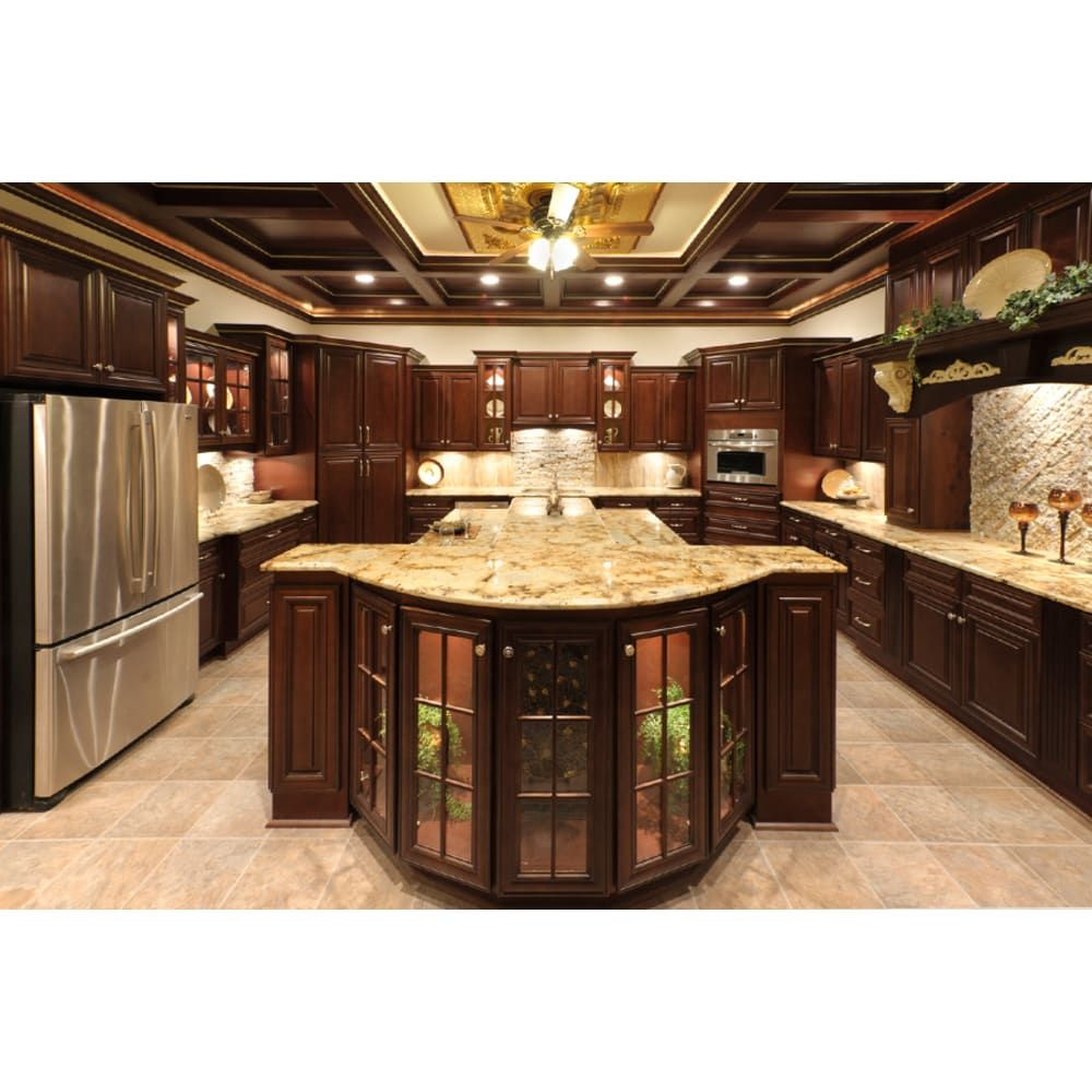 Rich Chocolate Finish Full Overlay Raised Panel Doors And Drawers Hardwood Door Face Frames 3 4 Kitchen Cabinet Styles Dream Kitchens Design Ornate Kitchen