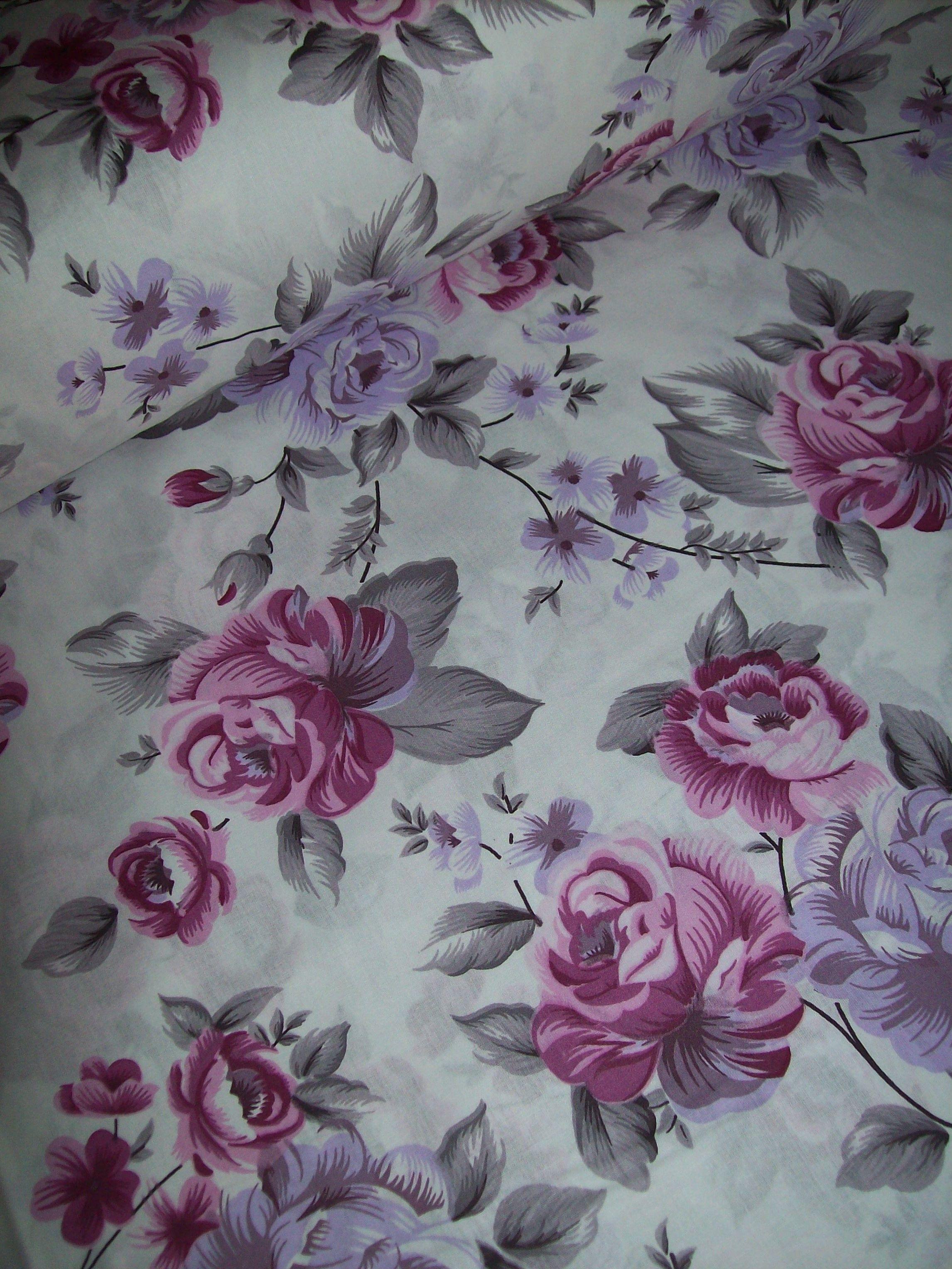 Fialové růže š.240cm 100% jemná bavlna  f7bb51d36bb