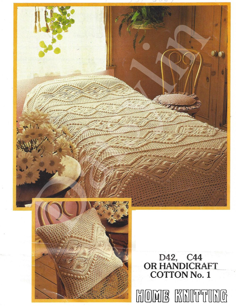 Absolutely Almost Free PDF Instant Download cotton knitted bedspread ...