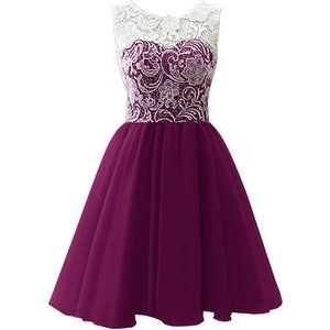 KekeHouse® Ball Gown Bridesmaid Dress Mother and Daughter Dress Flower Girl Floral Lace Short Prom Dress