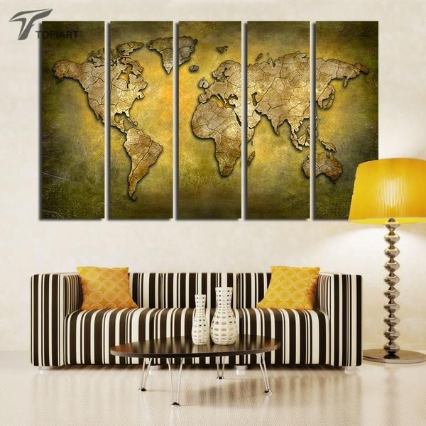 Yellow 3D World Map | Panel wall art, Panel walls and Canvases