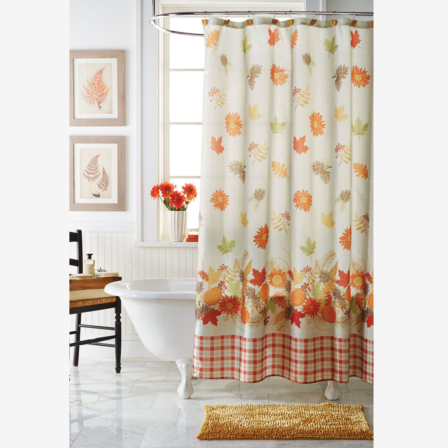13 Pc Harvest Leaf Shower Curtain Set Bath Accessories Shower Curtain Sets Bath Accessories Buffet Server