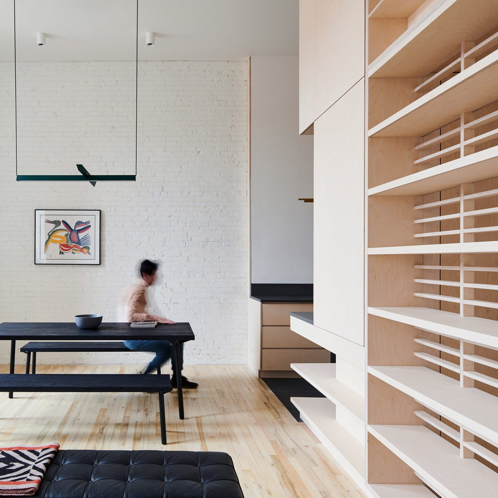 Baltic Birch Storage System Organises Brooklyn Apartment