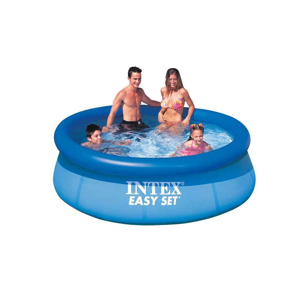 Intex Easy Set 8 Ft Round X 30 In Deep Inflatable Pool 28110e K The Home Depot Easy Set Pools Inflatable Pool Pool