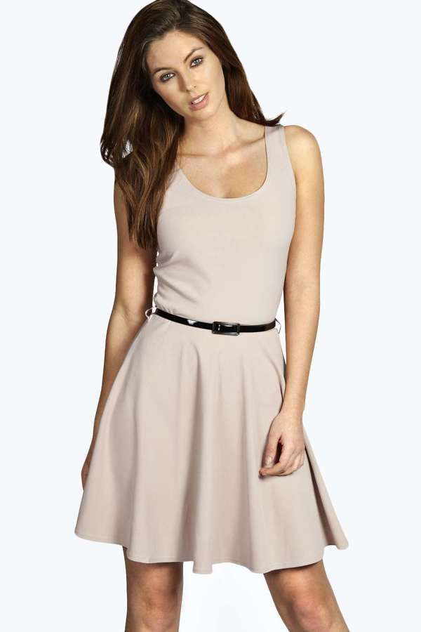 $20, Boohoo Maya Scoop Neck Skater Dress. Sold by BooHoo. Click for more info: https://lookastic.com/women/shop_items/320421/redirect