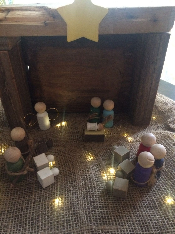 Rustic Handmade Wooden Nativity Set l Farmhouse Nativity l