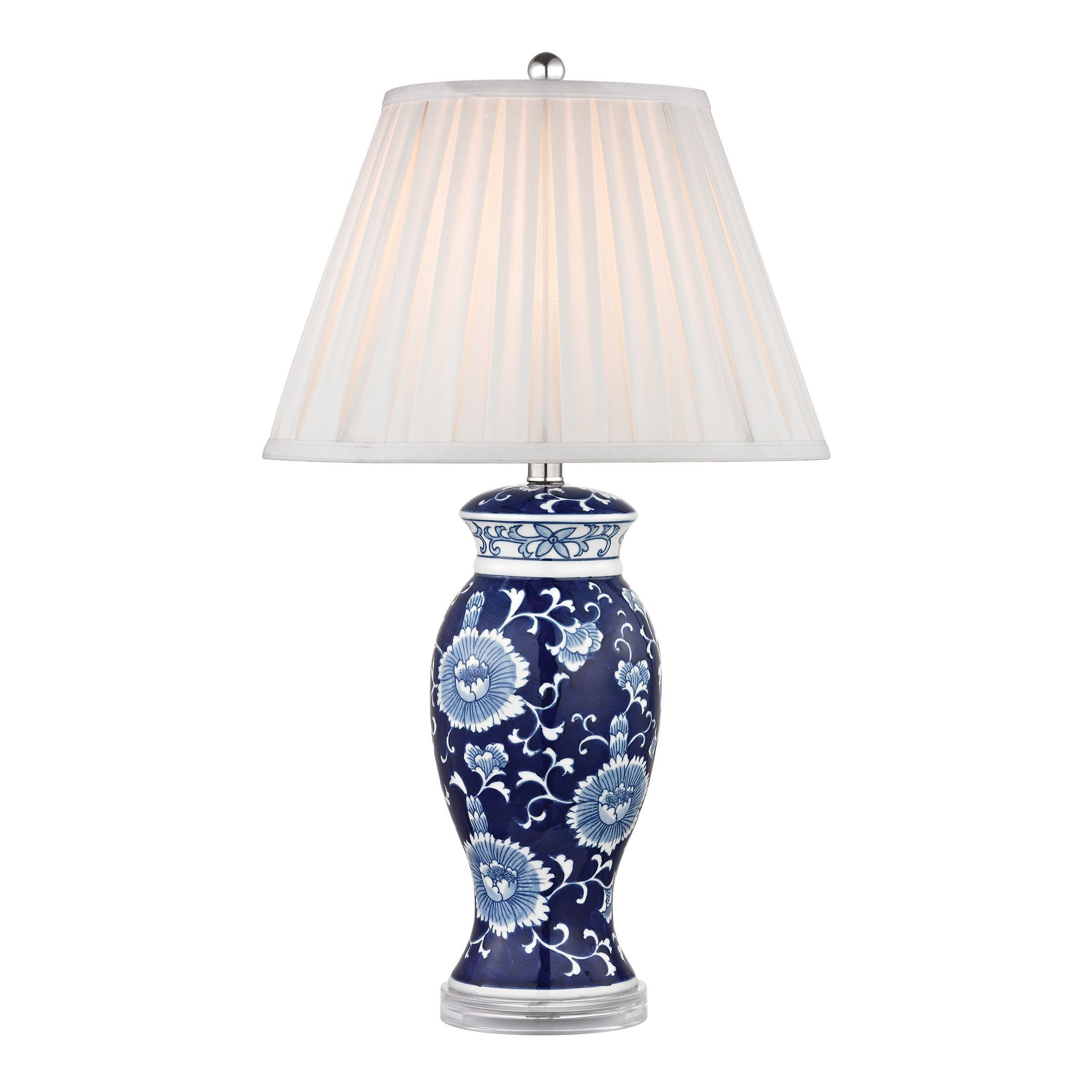 Dimond blue and white 1 light hand painted ceramic table lamp 95 dimond blue and white 1 light hand painted ceramic table lamp 95 watt dimmable led included geotapseo Gallery