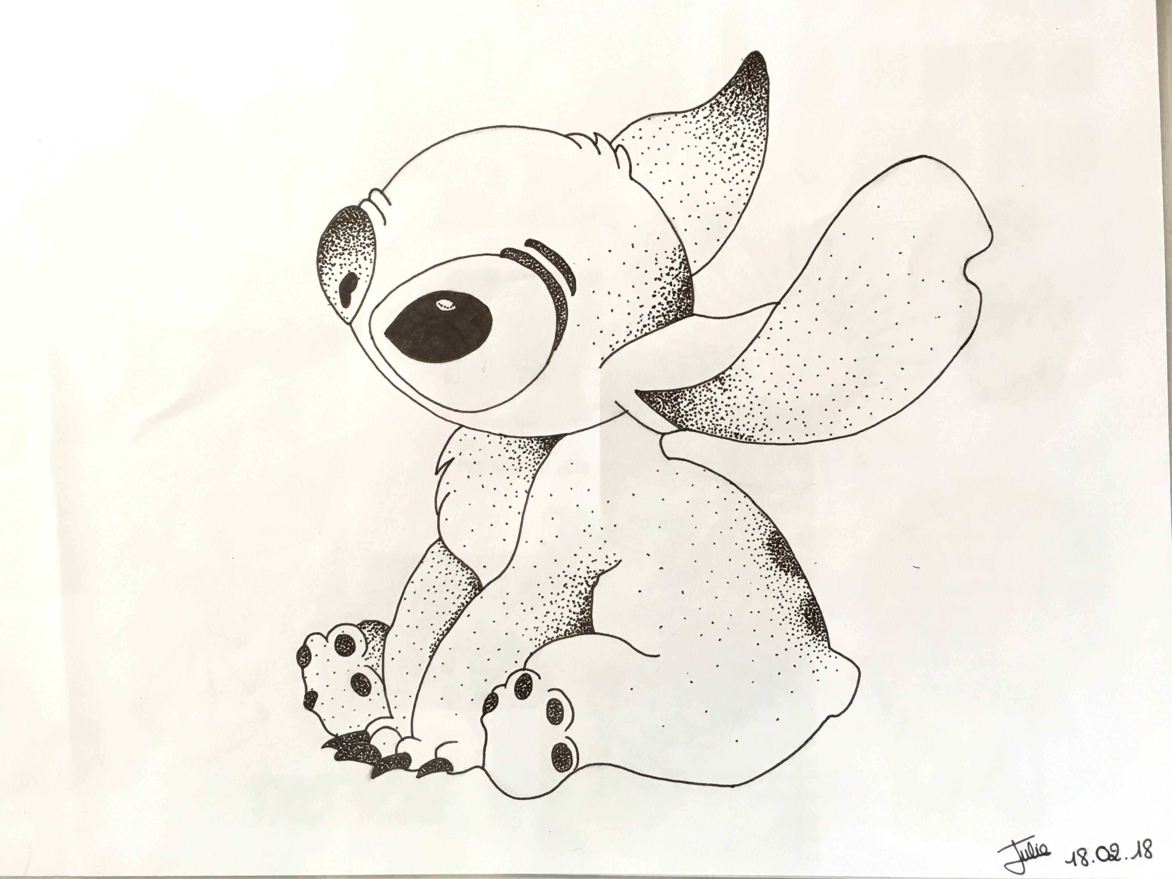 Personnage disney stitch pointillisme mes dessins en 2019 art et sketches - Personnage disney dessin ...