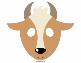 Goat Mask Templates Including A Coloring Page Version Of The Free Printable PDF At Maskspot Download