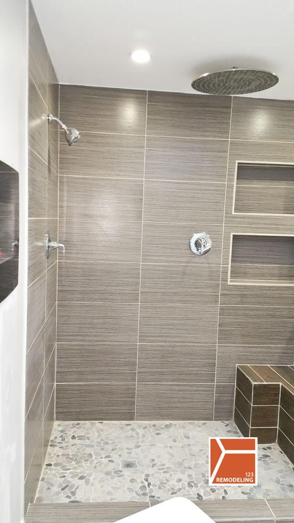 Skokie Bathroom Gut Remodel Home Pinterest Waterfall Shower - Bathroom gut and remodel