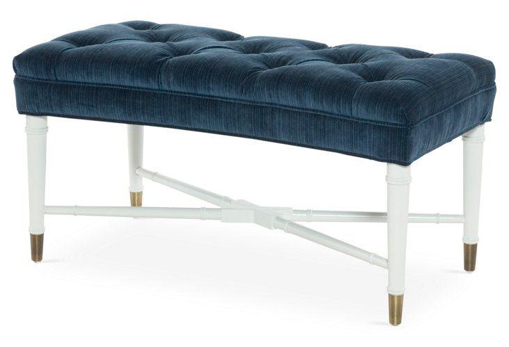 Monroe Bench, Blue Velvet
