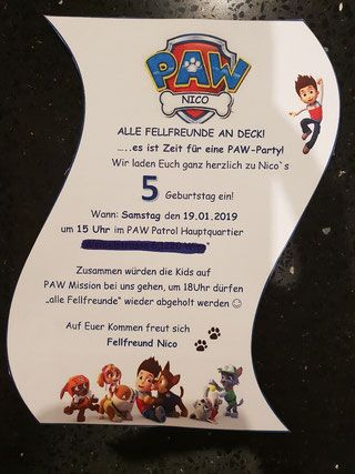 PAW Patrol Geburtstagseinladung