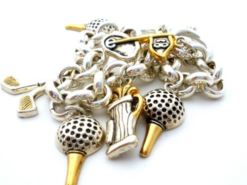 Signed-Best-Golf-Charm-Bracelet-Silver-Tone-Link-Brass-Accented-Ball-Club-Bag