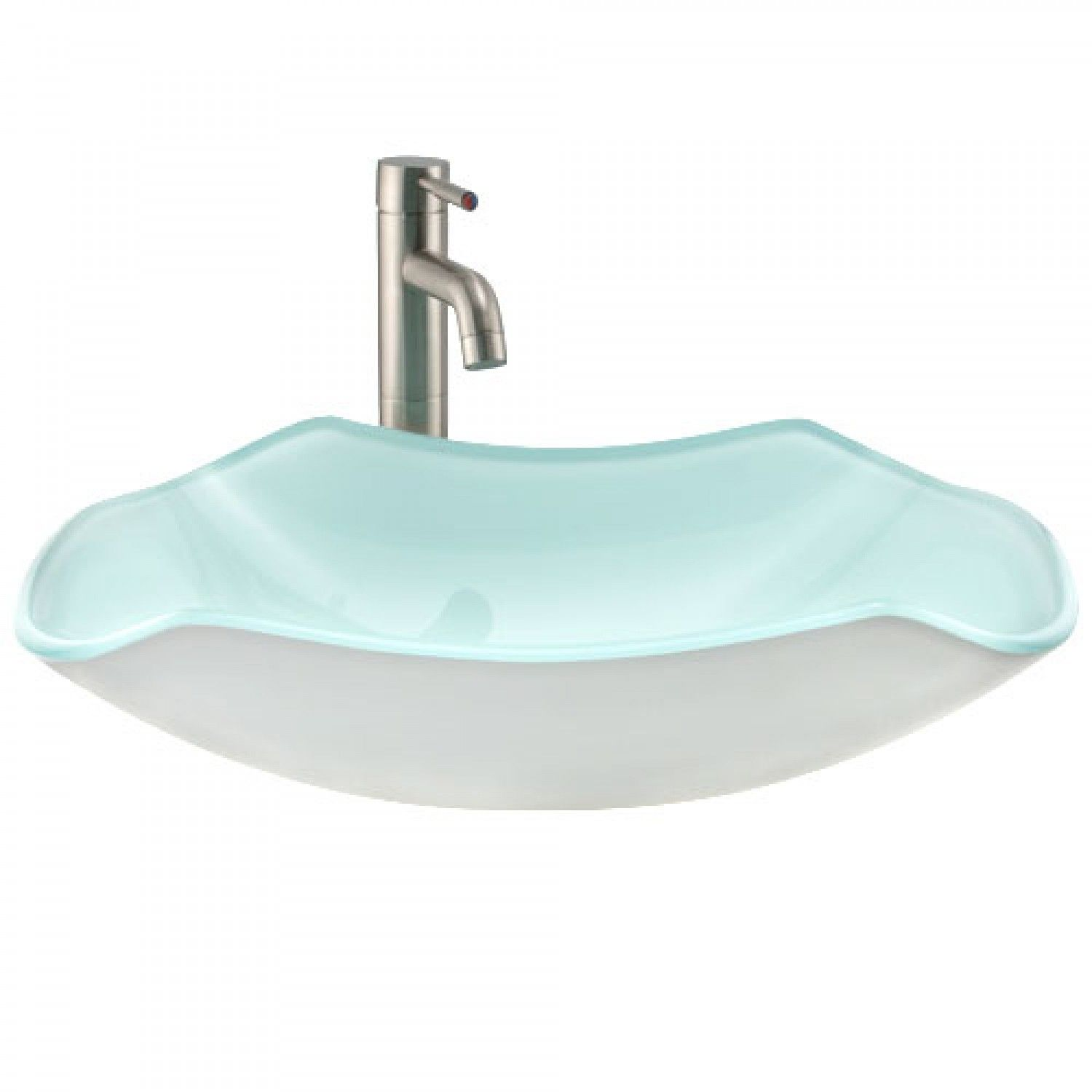 Rectangular Seafoam Green Glass Vessel Sink Bathroom Sinks
