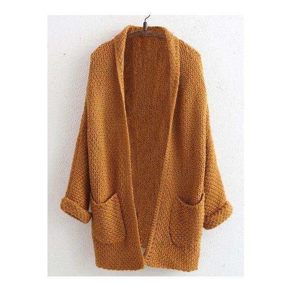 SheIn(sheinside) Khaki Long Sleeve Open Front Pockets Coat ($23) ❤ liked on Polyvore featuring outerwear, coats, tops, khaki, brown coat, long sleeve coat, cocoon coat and khaki coat