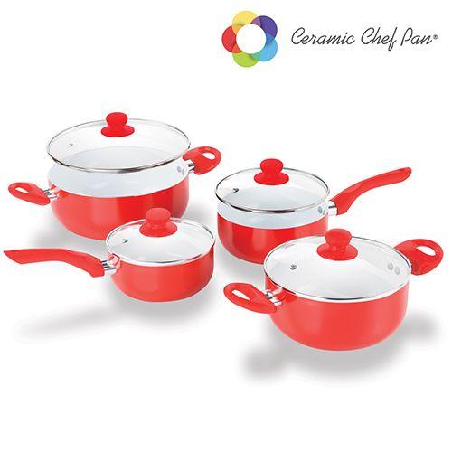 #Batería de #Cocina Ceramic Chef Pan (8 piezas) #regalosuper