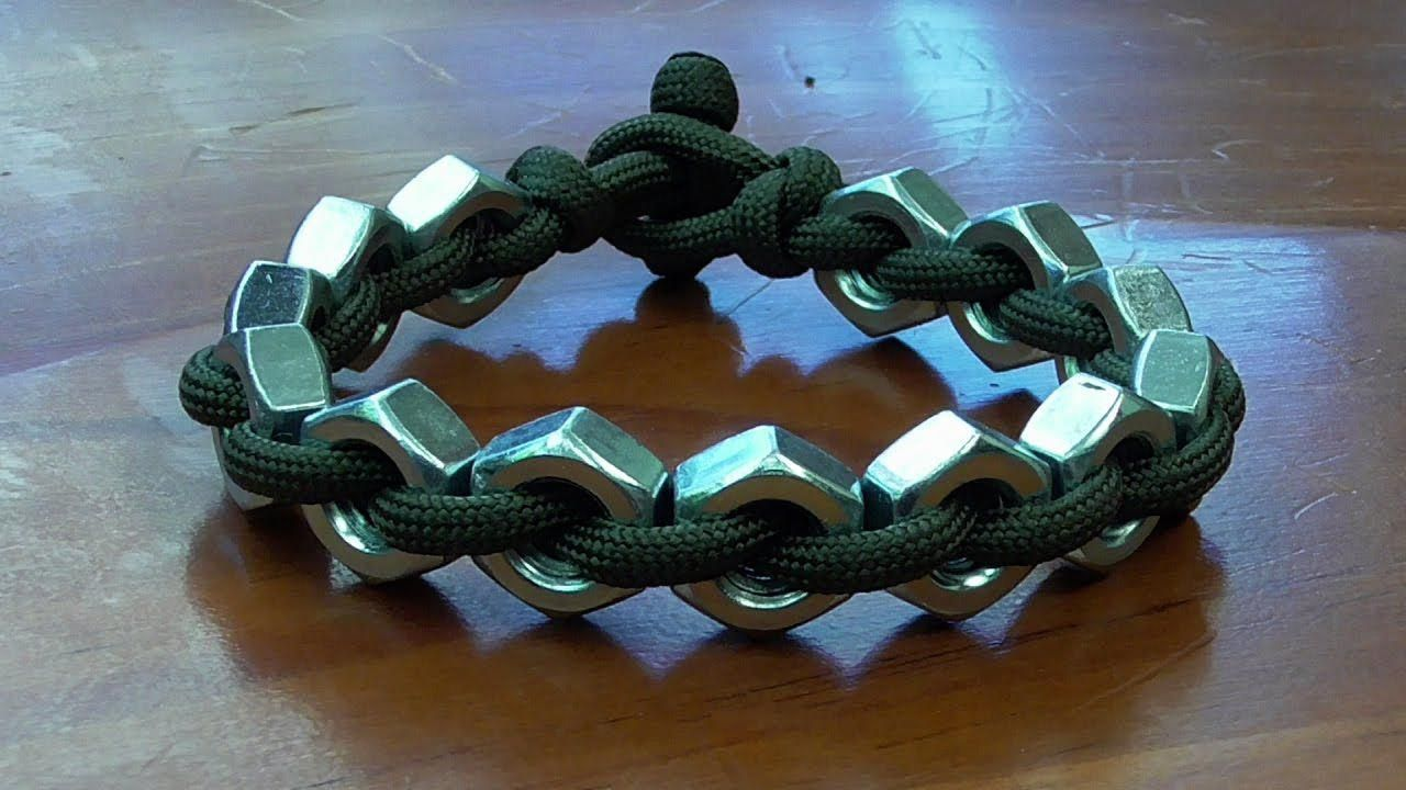 Instructions For How To Tie A Hex Nut And Paracord Bracelet With