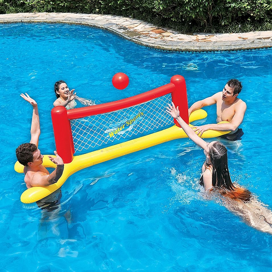 Pool Central Water Volleyball Game In Red Yellow Water Volleyball Pool Pool Floats