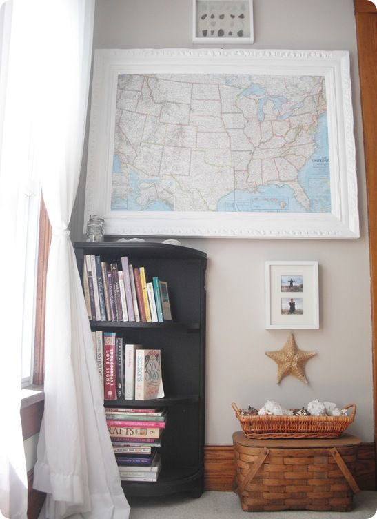 homeschool room idea - love the big, white frame for the map ...
