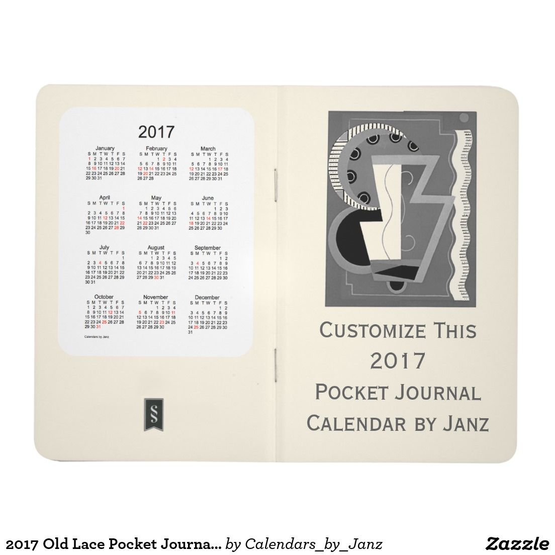 2017 Old Lace Pocket Journal Calendar by Janz