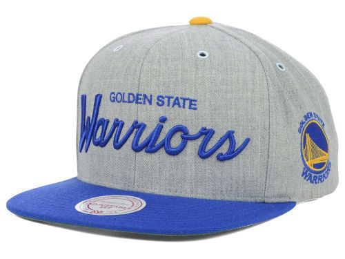 new product 00e14 9f9c4 Golden State Warriors Mitchell and Ness NBA Special Script Road Snapback Cap  Hats