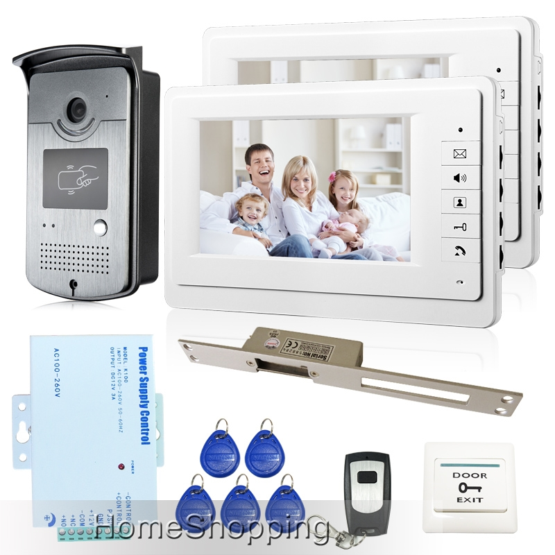 183.90$  Watch now - http://alizah.worldwells.pw/go.php?t=32348486130 - Free Shipping Brand New Home 7 inch Video Intercom Door Phone System 2 Monitors + RFID Camera + Long 250mm Strike Lock In Stock 183.90$