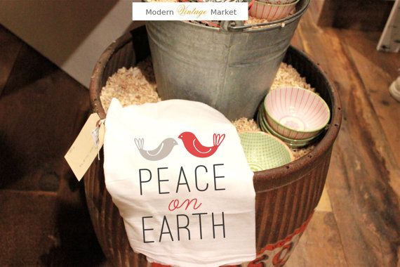 Christmas Gift Towel Peace On Earth includes our 2016 WISH gift tag.   Brighten your Christmas decor with our Christmas Kitchen Towel Peace