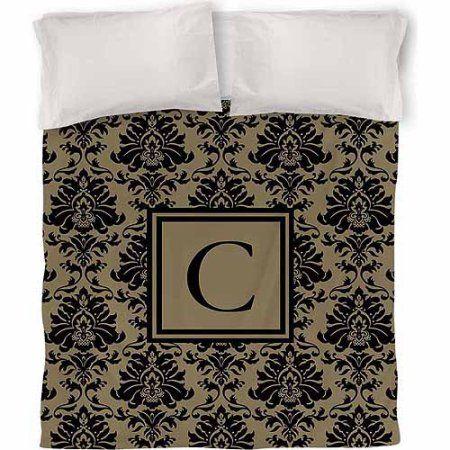 Thumbprintz Damask Monogram Duvet Cover, Black and Gold