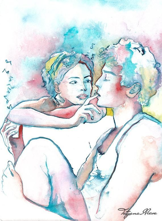 Couple Portrait Original Watercolor Painting Portrait Of Young