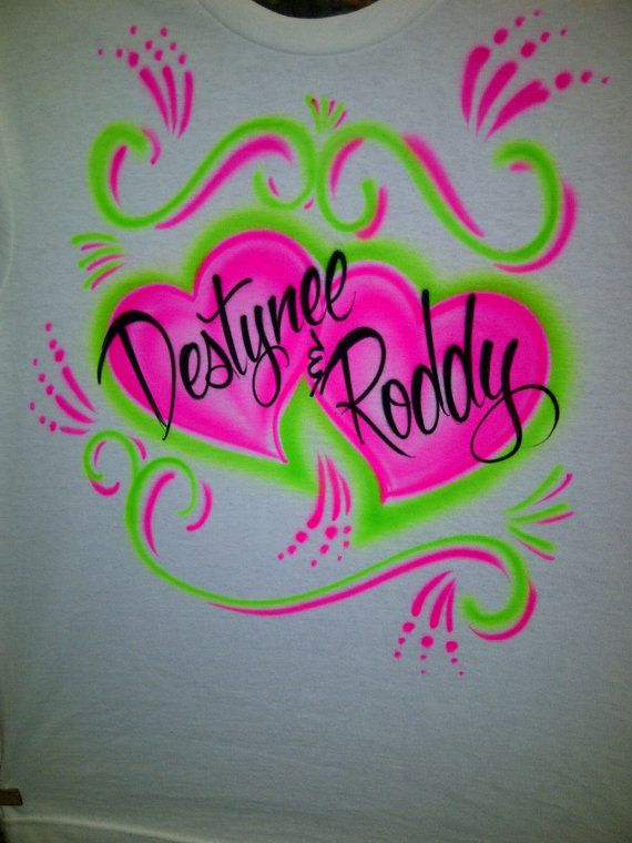 8d71e333f22a Airbrush Couples Hot Pink & Lime Green Heart Shirt Personalized w/ Names S  M L XL XXL. $12.99, via Etsy.