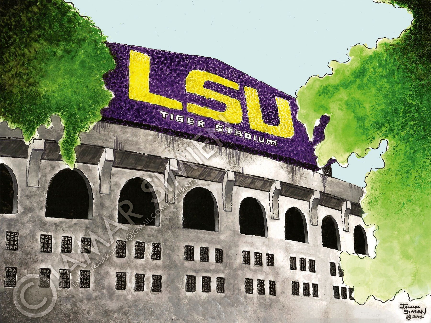 Lsu S Tiger Stadium Watercolor Painting By Jamar Simien Https Www Etsy Com Listing 104197567 Lsu Tiger Stadium Football S Lsu Tiger Stadium Lsu Tigers Lsu