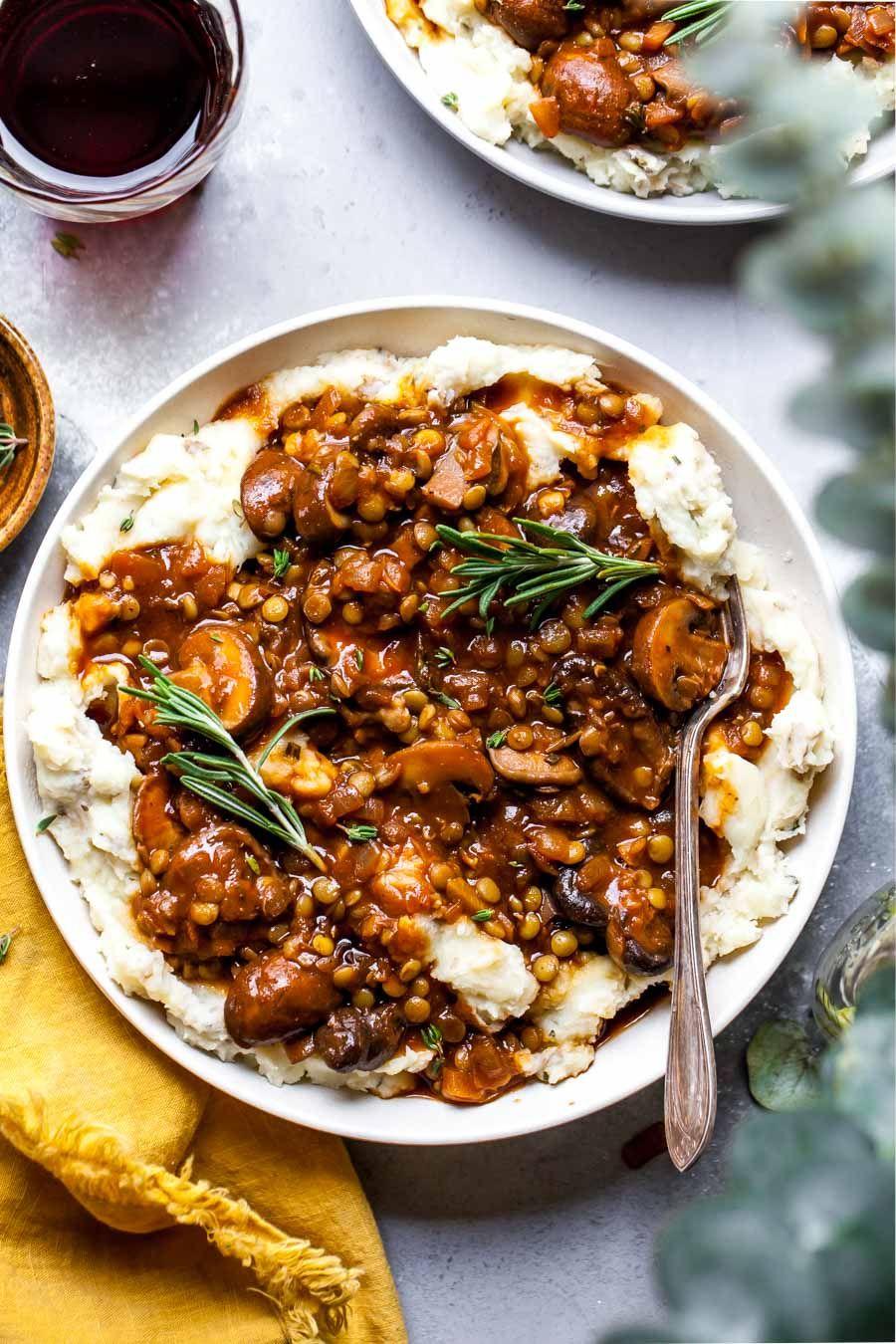 Lentil and Mushroom Stew over Potato-Parsnip Mash